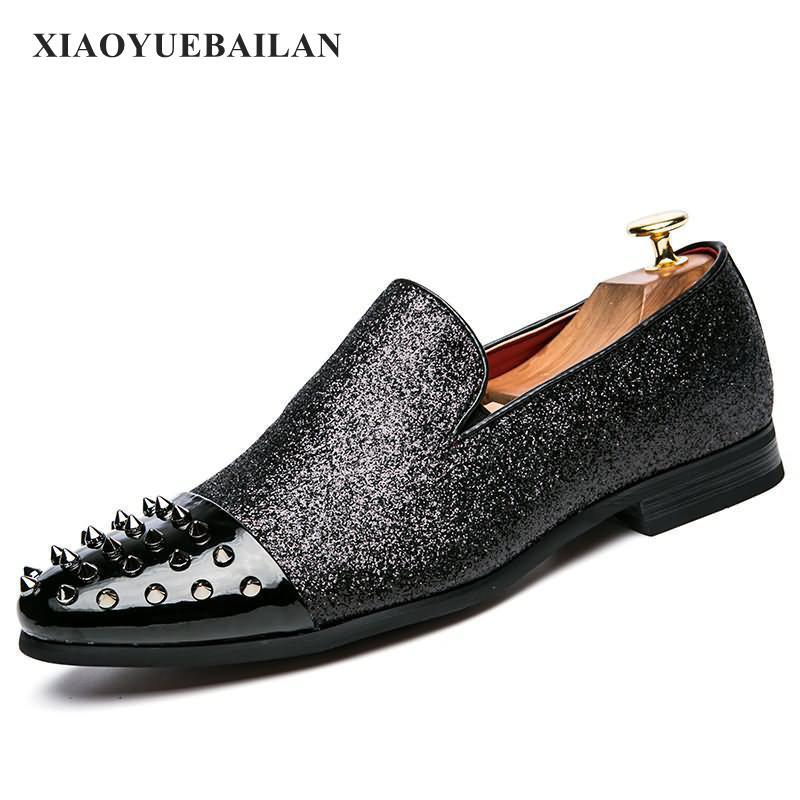 Confortable Coups Noir Paresseux Pieds Air Pied Hommes Rivets Mode Chaussures Chaussures De qPgnatxzf