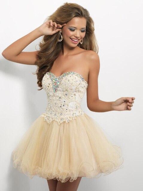 Aliexpress.com : Buy Sparkly Champagne Lace Elegant Luxury Short ...