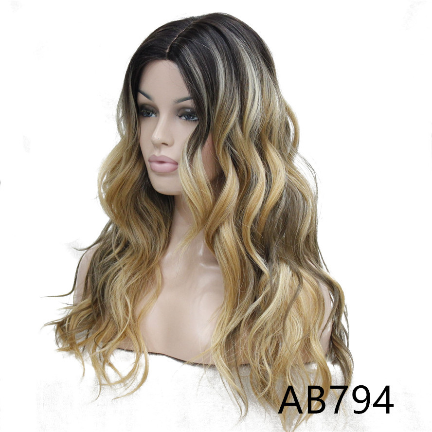 StrongBeauty Women's Synthetic Natural Long Wavy Brown/Blonde Highlights Wig