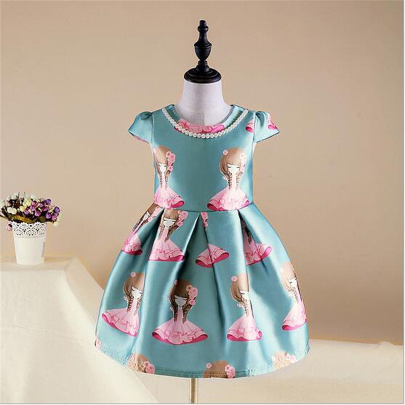 d10230cb2c5 2017 Baby Girls Summer Dress O Neck Cartoon Girls Printed Dresses Kids  School Princess Cute Fashion Dresses For Girls-in Dresses from Mother    Kids on ...