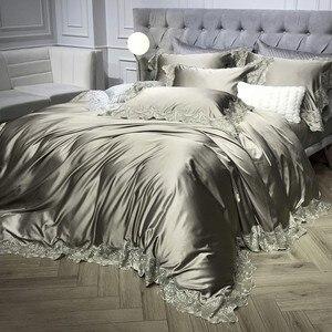 Image 3 - 1000TC raso pizzo di cotone bianco argento set di biancheria da letto di Lusso queen king size lenzuolo lenzuolo di copertura del duvet set parure de lit
