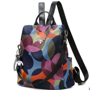 New Printed Oxford Canvas Shoulder Bag Womens College Wind Burglar-proof Girl Students Backpack Leisure