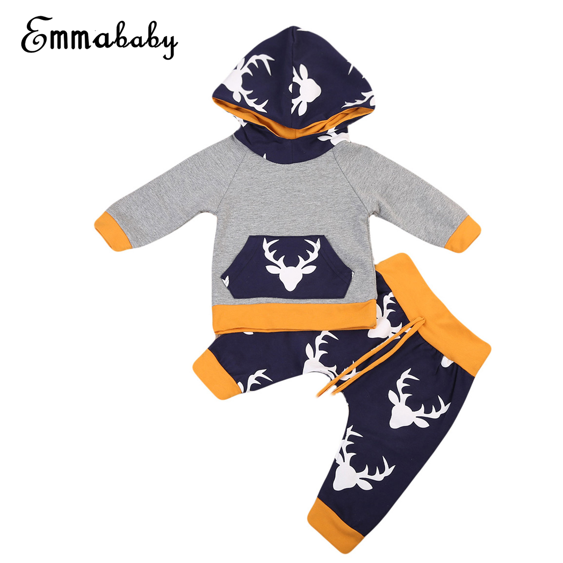 Babies Xmas Clothing Sets Infant Baby Girl Hooded Tops Sweatshirt Pants Outfits Christmas Clothes Set