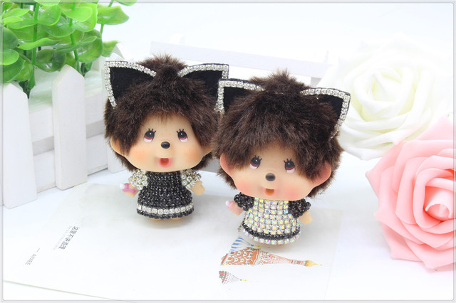 New Arrival Monchichi Cute Cat Ears For Lovers Gift  Key Chain Pearl Chain Bag Wallet Accessory