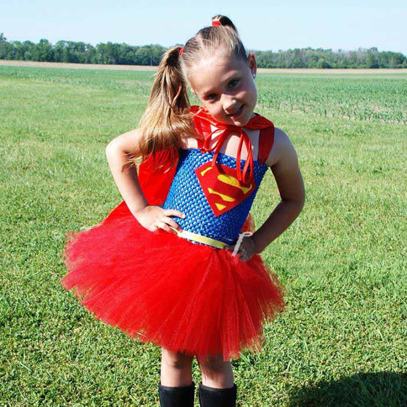 Child Super girl Costume Cosplay Kids Super hero Fancy Party Dress Halloween Superman Costume Outfits For Girls dress
