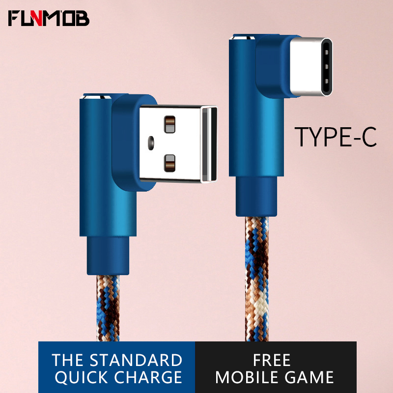 1 Pcs Elbow USB Type-C Phone Cable For Samsung Galaxy Huawei Xiaomi C Charger Data Cord Fast Charging Mobile