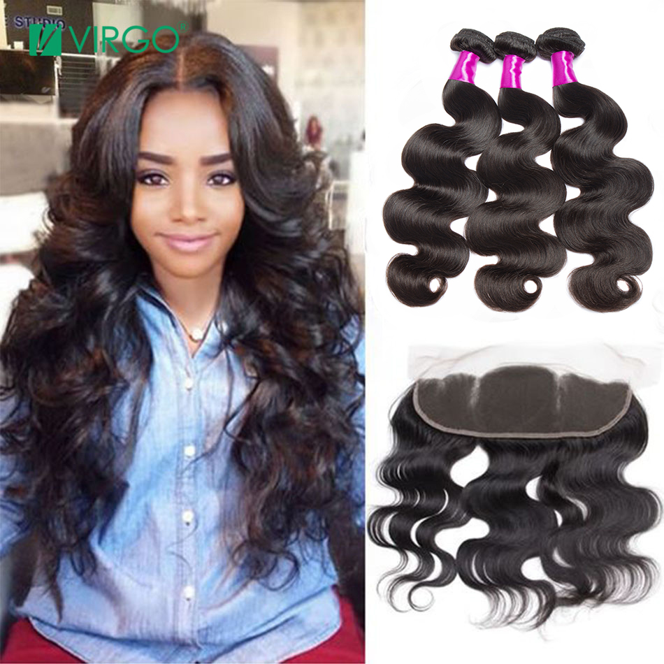 Body Wave Bundles With Frontal 3Pcs Pre Plucked Lace Frontal Closure With Bundles Brazilian Hair Weave Virgo Human Hair Non-Remy