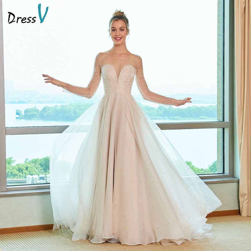 Dressv scoop neck abito da sposa una linea di maniche lunghe appliques paillettes lunghezza del pavimento del merletto da sposa outdoor & chiesa abiti da sposa