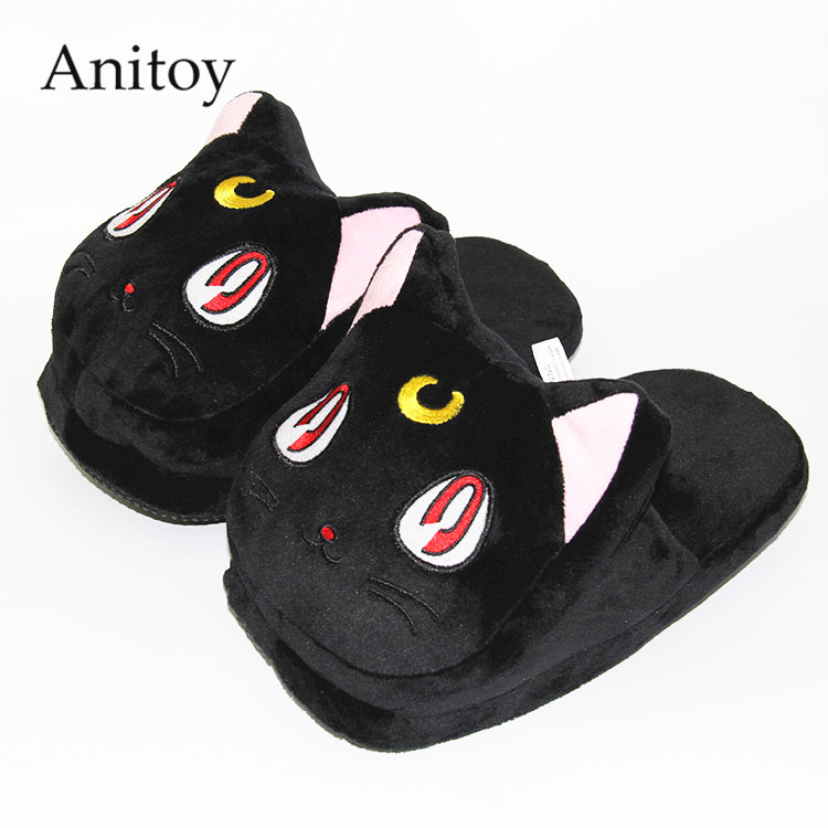 Anime Cartoon Sailor Moon Luna Artemis Home Plush Slippers House Winter Shoes Soft Stuffed Toys 3 Colors AP0101