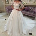 Perfect For Tulle Boat Neck White Fifth sleeve Lace Wedding Dresses Court Train Vestido Branco Bridal Dresses Cash On Delivery