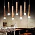 Скандинавское Дерево Искусство LED подвесной светильник для ресторана кафе бар твердая деревянная палка простая лампа