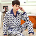 New  Men Pajama Sets 2016 spring and autumn thin plus size cotton long-sleeve 100% male sleepwear plus size  teenage lounge set