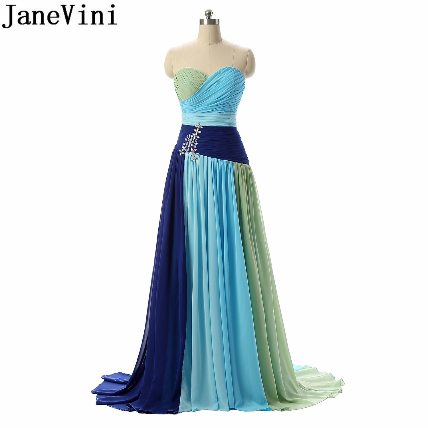 JaneVini Gradient Blue Bridesmaid Dress With Crystal Long Chiffon Sweetheart Wedding Party Dresses Plus Size Maid Of Honor Gown