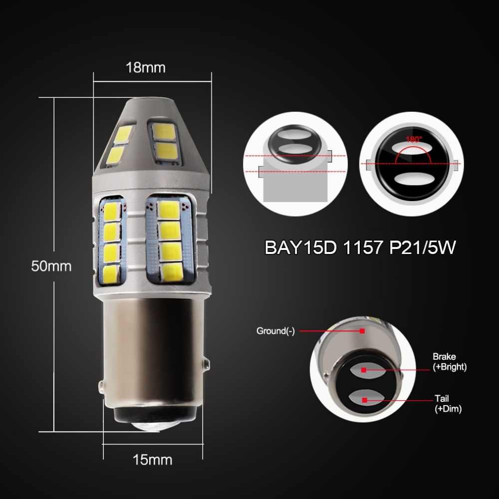2 шт. BAY15D светодиодный Автомобильные фары 1157 P21/5 Вт светодиодный лампы 30SMD Авто Задние Стоп сигнал обратного DRL лампа цвет: желтый, белый красный 12V 24V
