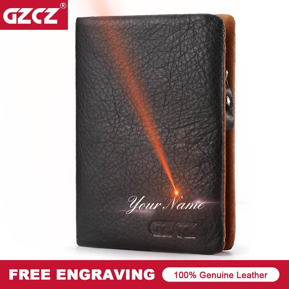 GZCZ Genuine Leather Men Casual Wallet Zipper Poucht Coin Purse Photo Holder Wallet Drop Shopping Money Bag MAN PURSE Portomonee