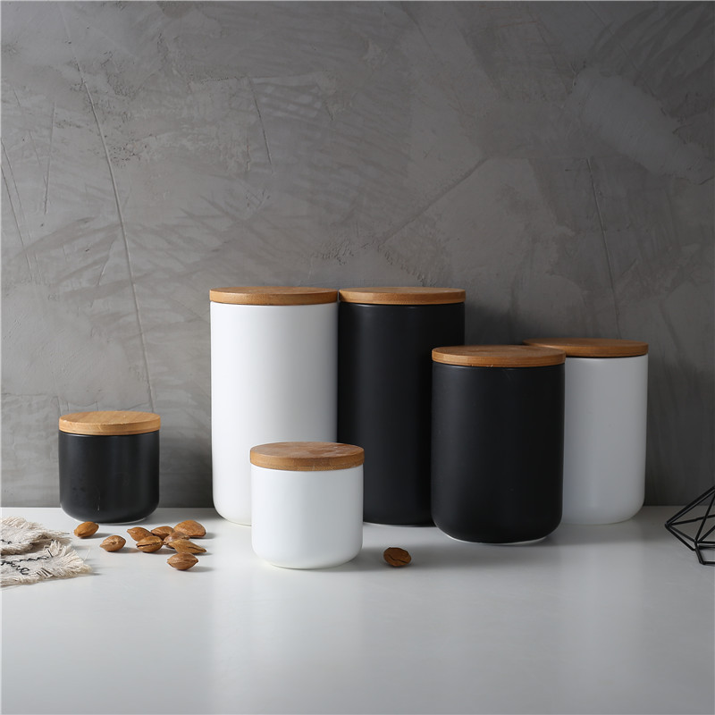 Ceramic Wood Lid Storage Bottle Jar Kitchen Food Coffee Tea Pot Seasoning Sealed   Desktop Decoration