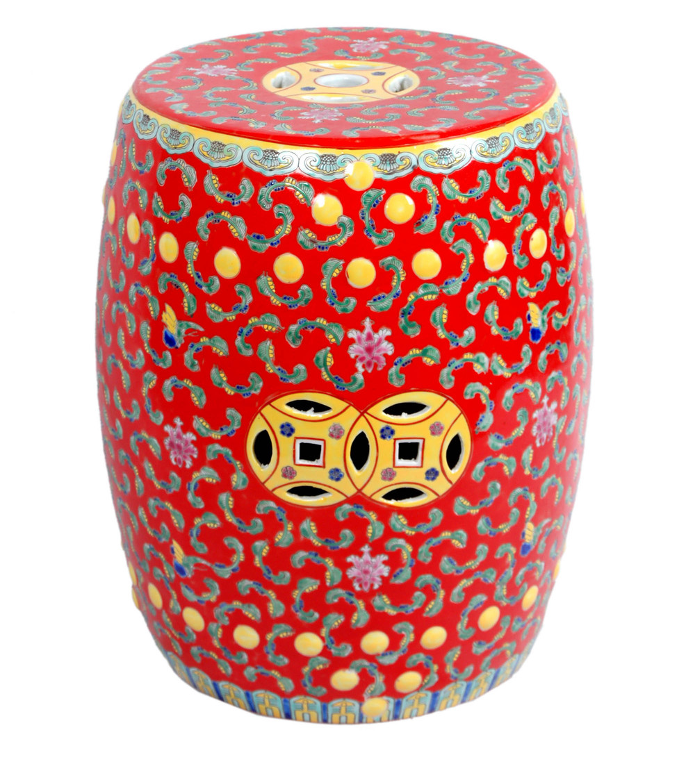 Red Famille Rose Porcelain Ceramic Garden Stool Seat End Table