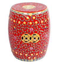 Wonderful Red Famille Rose Porcelain Ceramic Garden Stool Seat End Table