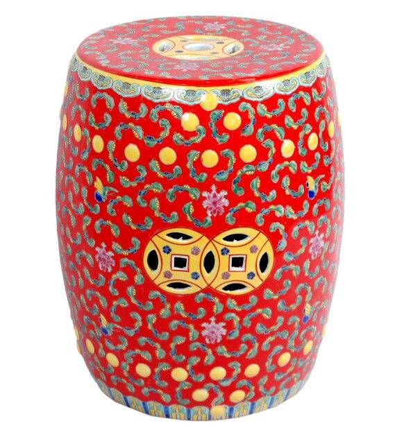 Red Famille Rose Porcelain Ceramic Garden Stool Seat End Table