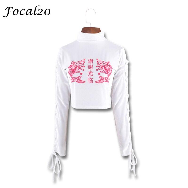 Focal20 Harajuku Carp Print Women Crop Top T-shirt Long Sleeve Lace Up Chinese Print Cropped T Shirt Tee Top Streetwear