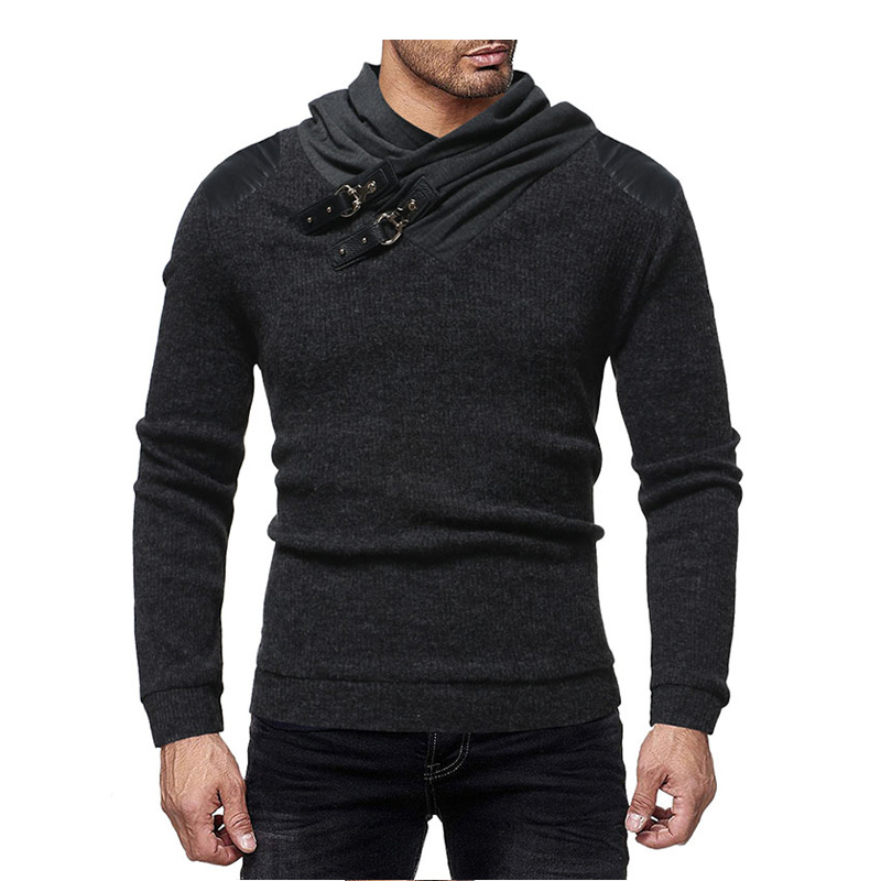 2019 Mens Wool Sweater Pullover Long Sleeve Personalized Leather Buckler Sweater Jumper Knitwear Winter Cashmere Outerwears XXL