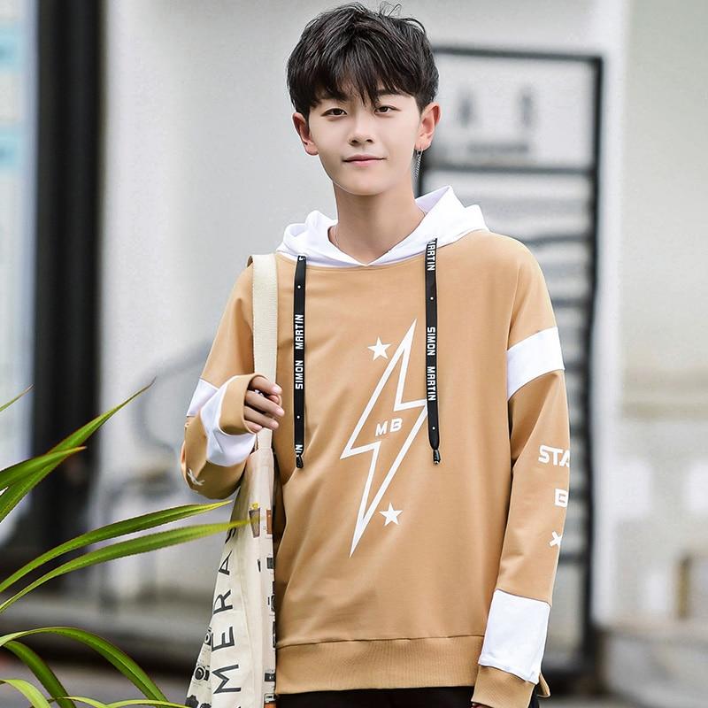 Mode étoiles motif imprimé sweat à capuche en coton étudiants sweats à capuche hommes vêtements d'extérieur 2019 automne hiver - 3