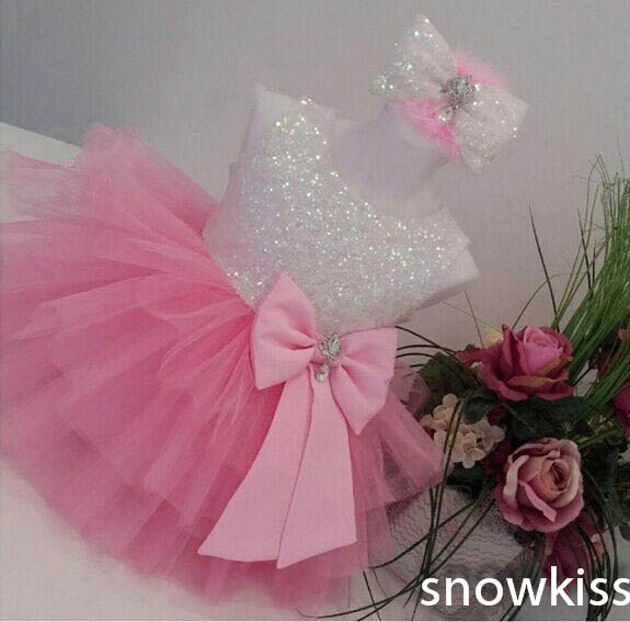 2016 new bling sequin hot pink flower girl dresses with bow baby birthday glitz party dress beauty pageant dresses ball gowns Cute Bling Sequin Blush Pink flower girl dresses toddler girl pageant dress baby Birthday Party Dress Tiered Puffy ball gowns