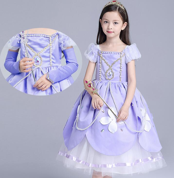 Girl Dresses Princess Children Clothing Anna princess Sophia Cosplay Costume Kid's Party Dress Baby Girls Clothes