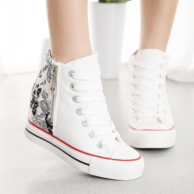 Новая коллекция весна осень женщины повседневная обувь высокий верх узелок высота увеличение холст обувь для женщин zapatos mujer размер 35-40
