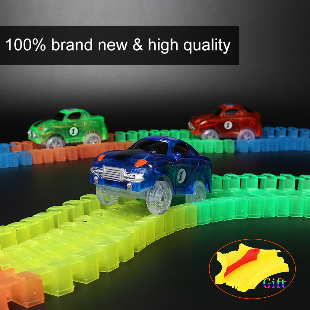 DIY Turntable Lift Accessories Miraculous Glowing Magic Race Track Bend Flash in the Dark Assembly Car Toy Glowing Puzzle Track