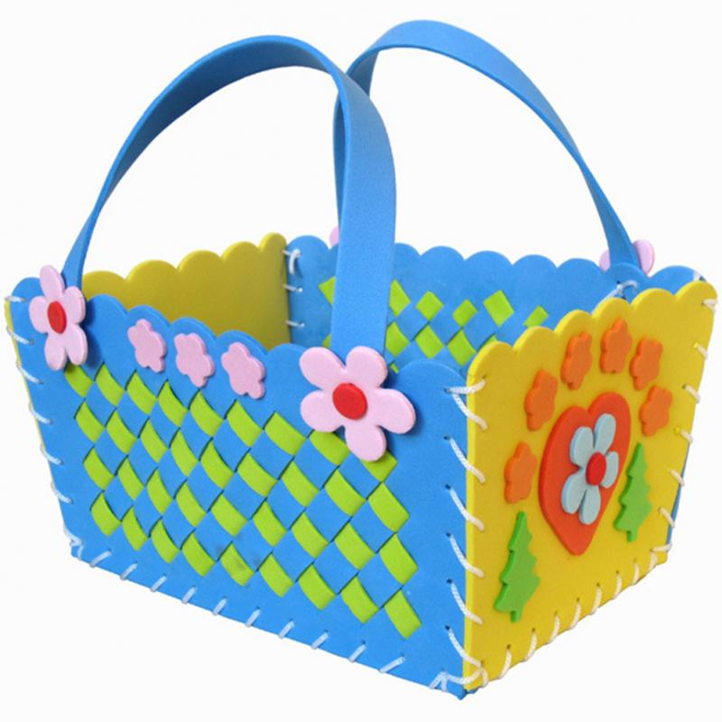 DIY EVA Handmade Crafts Flower Sewing Weaved Basket Children Educational 3D Braid Basket