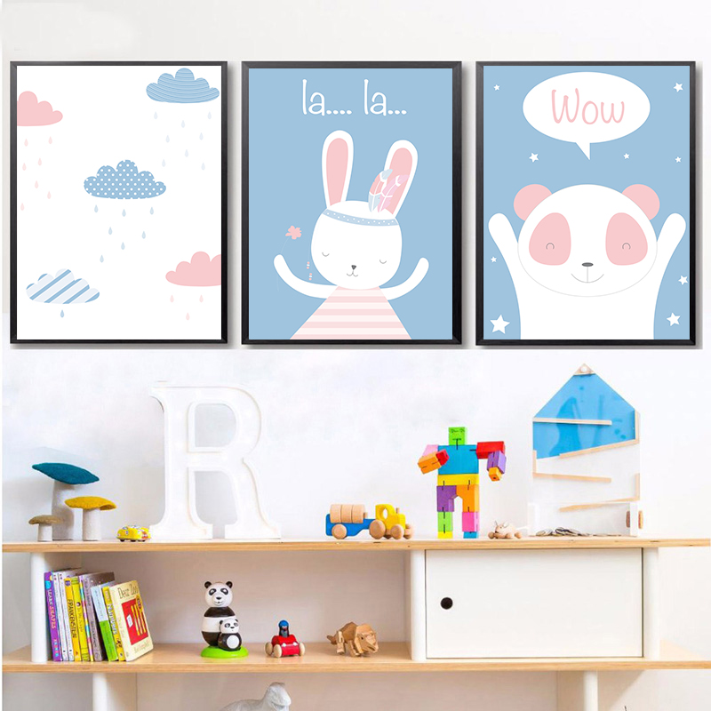 Blue Cartoon Animal Raining Rabbit Cub Decoration Poster Kids Bedroom Wall Art Canvas Painting Home Picture Wall Decor in Painting Calligraphy from Home Garden