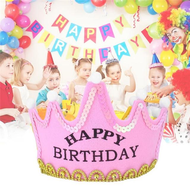 Boy Girl Birthday Hat Yellow Princess Children Kids Light Up Luminous LED Crown Lovely King
