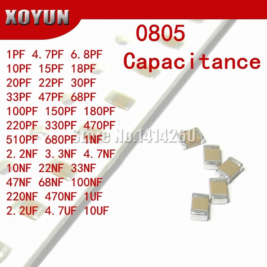 100pcs 0805 Smd Capacitor Ceramic 1PF-10UF  20PF 220PF 330PF  680PF  4.7NF 22NF 33NF 10NF 220NF 1UF 2.2UF 4.7UF 10UF Capacitors