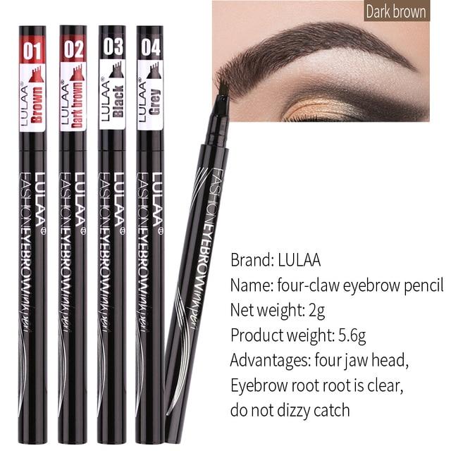 Natural Waterproof Eyebrow Pencil Brown Black Gray Eyebrow Enhancer Four-jaw Tattoo Pencil Eyebrow Pencil Makeup 5