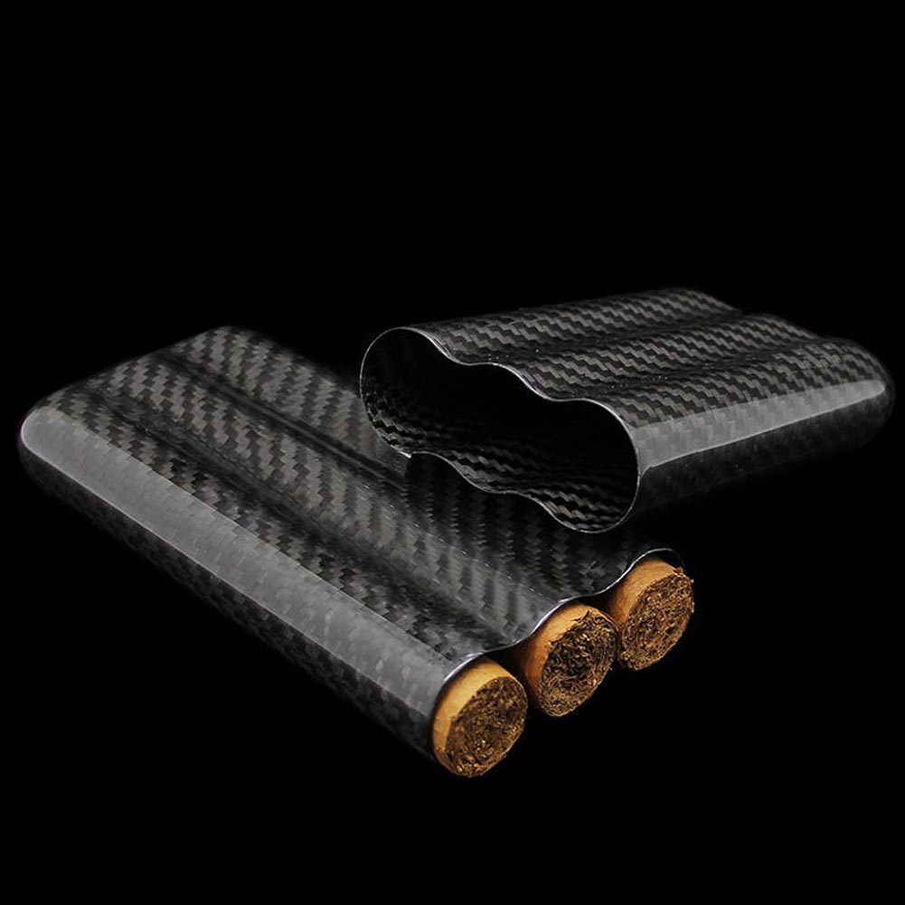 Fiber De carbone Cigares Humidor Voyage Cigar Box Case 2/3 Tubes Tabac Titulaire Poche LT88