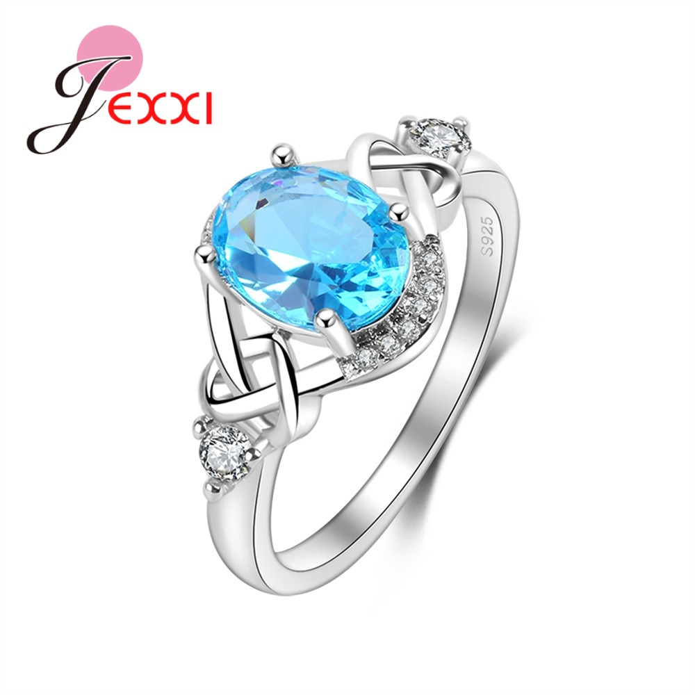 Jemmin New Arrival Clear Blue Cubic Zirconia Fashion 925 Sterling Sliver Finger Rings Beautiful Wedding Ring For Girls/WomenJemmin New Arrival Clear Blue Cubic Zirconia Fashion 925 Sterling Sliver Finger Rings Beautiful Wedding Ring For Girls/Women