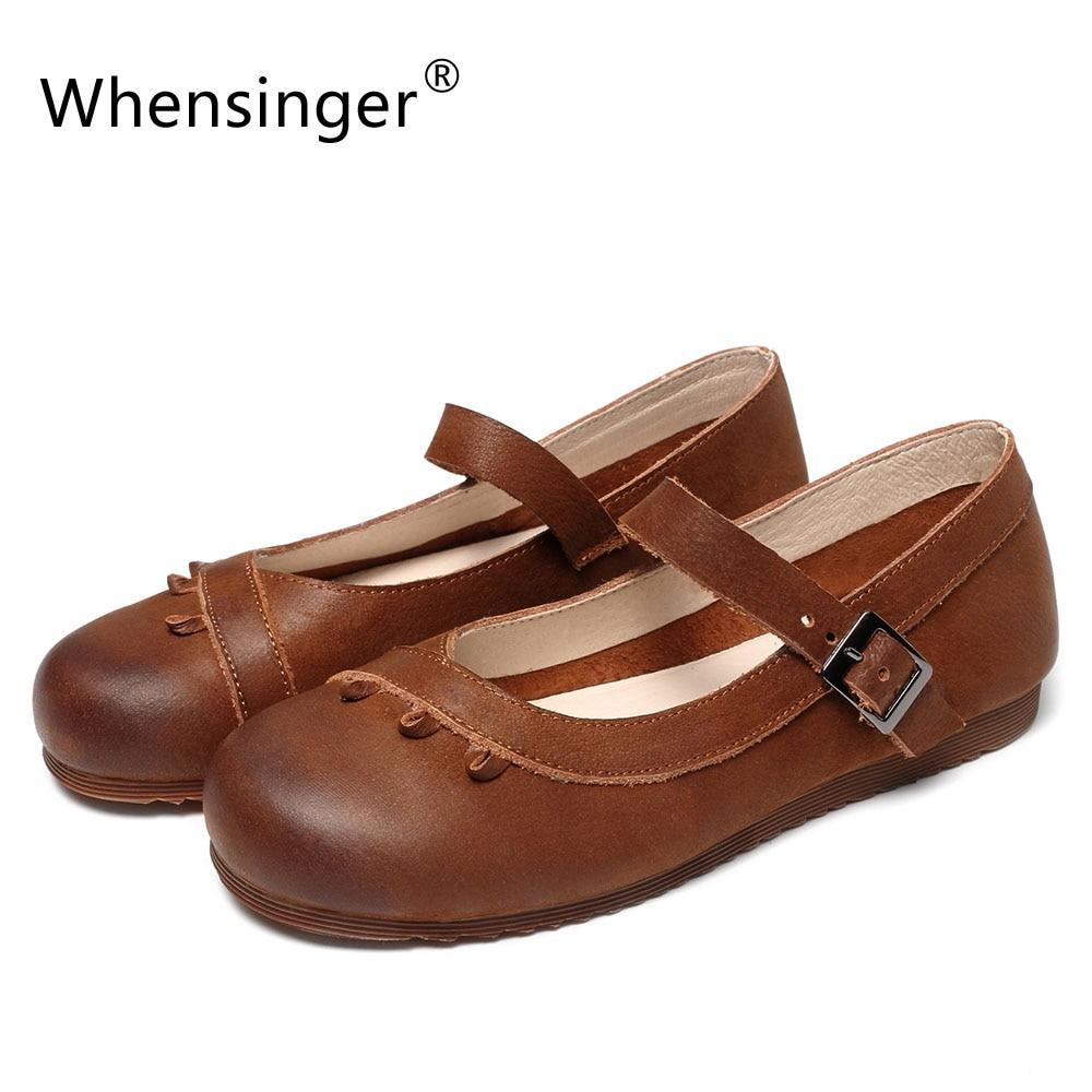 Whensinger - 2018 New Design Women Leather Shoes Vintange Flats Handmade 2 Colors C556 автоинструменты new design autocom cdp 2014 2 3in1 led ds150