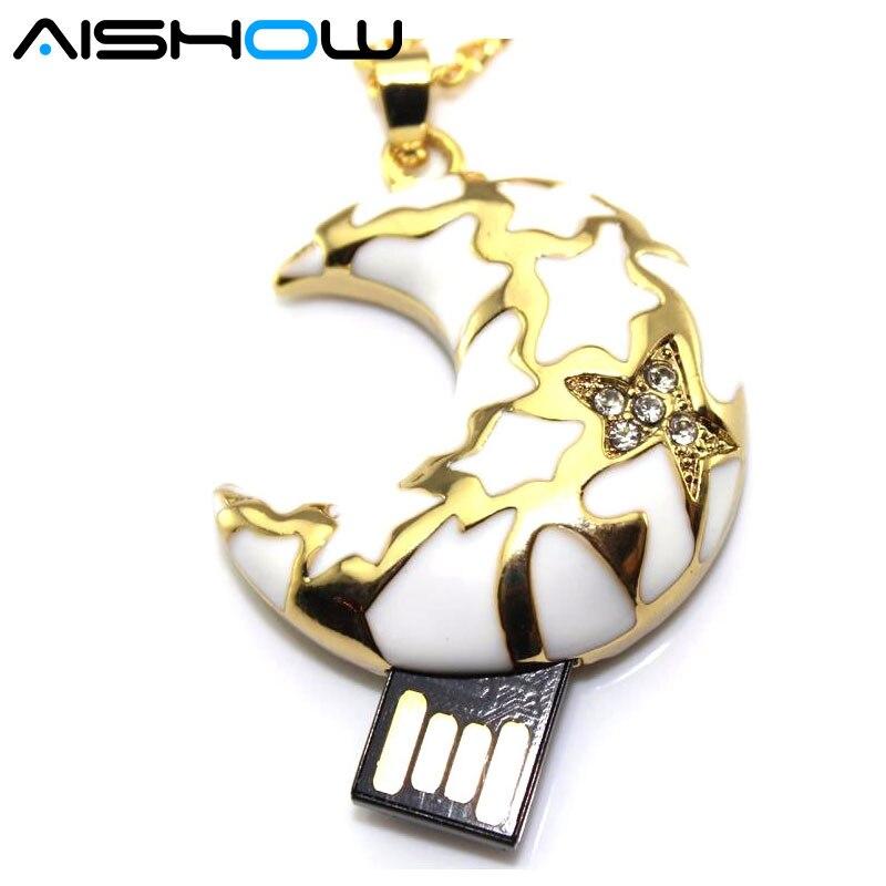 %100 Hot USB Flash Drive Thumb Stick Flash Disk 4GB 8GB 16GB 32GB 64GB Jewelry Necklace Moon Gift Pen Drive