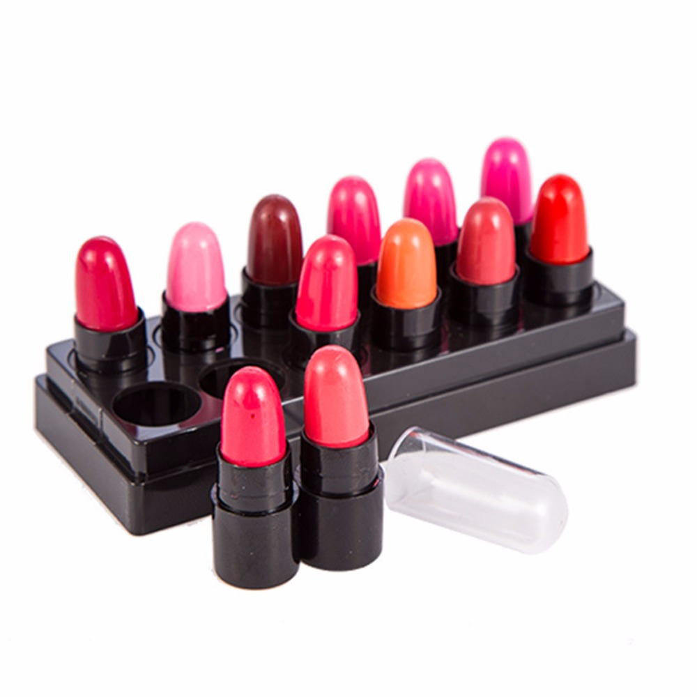 12Colors/Set Mini Cute 12 Colors Lipstick Waterproof Lip Color 1.2gx12 High Quality Lips Makeup Set WC225 P45