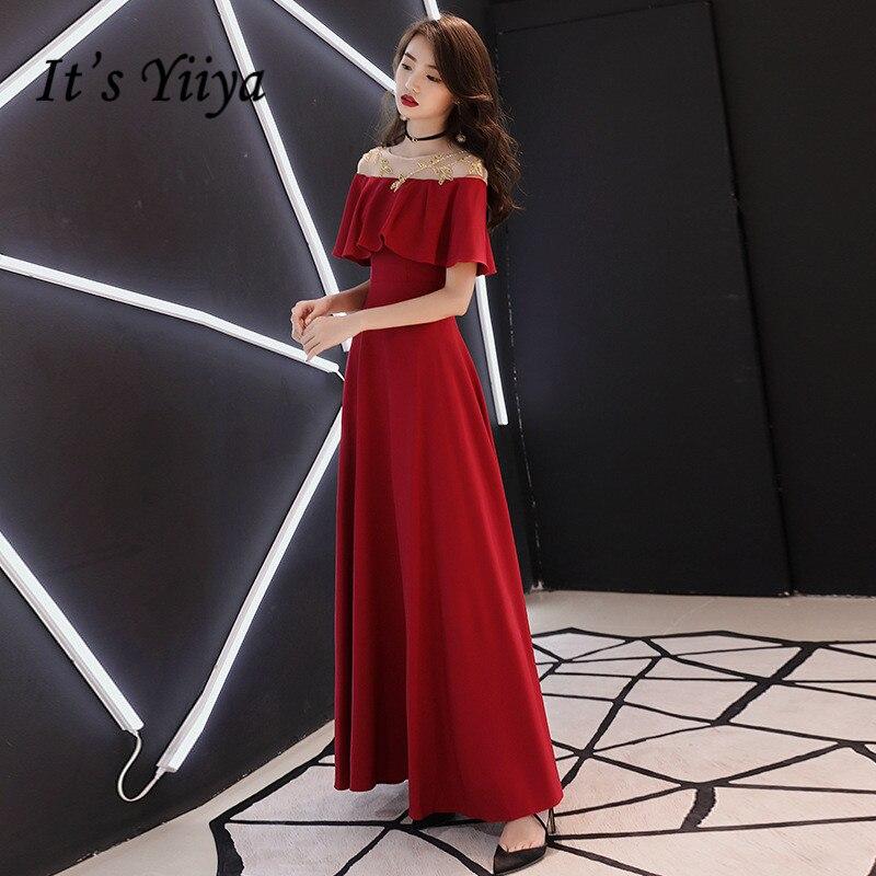 C'est YiiYa robe de soirée or broderie longue robe de soirée vin rouge bateau cou volants Zipper manches courtes robes formelles E067