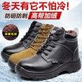 Homem inverno botas de biqueira de aço botas de trabalho quentes ácido e de segurança calçado de segurança resistente aos ácidos e álcalis prova punture com pele botas
