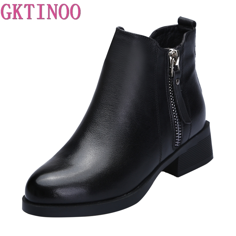 GKTINOO Fashion Women Martin Boots Autumn Boots Genuine Leather Ankle Boots 2018 Winter Warm Fur Plush Women Shoes Big Size plus size 34 43 new fashion autumn winter boots women classic zip ankle boots warm plush leather casual martin boots women shoes