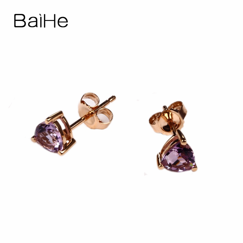 Trillion Cut Natural Amethyst Solid 14k Rose Gold Women Earrings Bridal Jewelry solid 14k rose gold 100