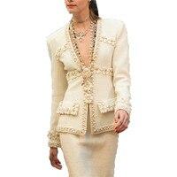 2019 Spring Clothing Women Coat Sexy Deep V Neck Luxury 3D Flower Beading Tweed Slim Jacket Female Elegant Outerwear QH455