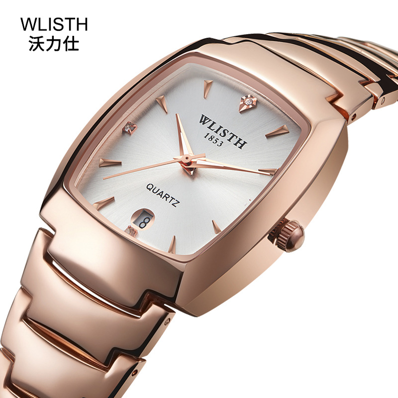WLISTH New Fashion Lovers Watches Man Women Famous Luxury Brand Silver & Rose Gold Color Oval Dial Calendar Quartz Wristwatches
