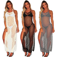 MUXU Summer New sexy transparent knitted dress mesh woman clothes sundress elegant beach dresses backless plus size suspender