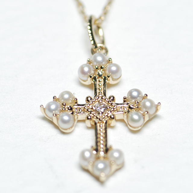 Vintage Pearl Diamond Cross Pendant Necklace 14K Handmade Ladies Pearl Pendant Jewelry 18k Yellow Gold 16' Necklace For Women