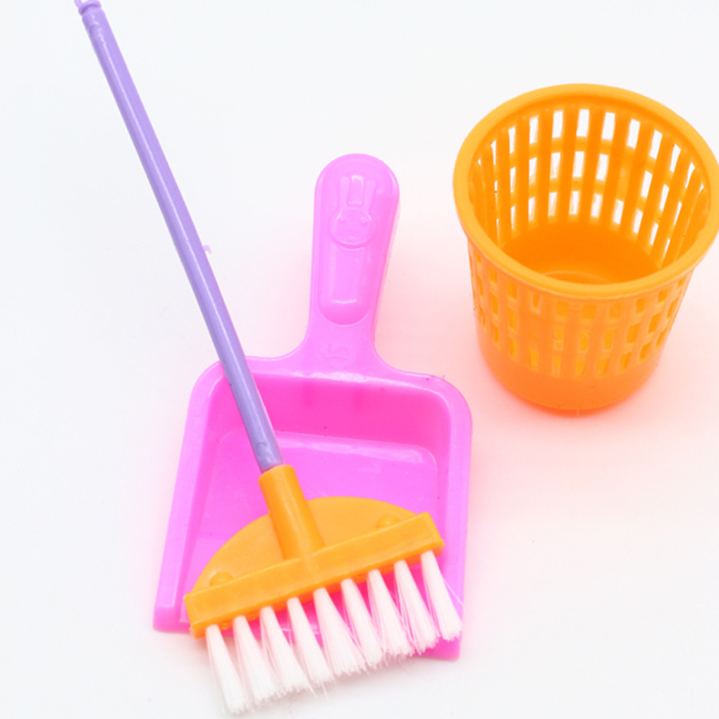 Hot Sale 9PCS/Set Household Girl Dolls Toys Cleaning Tools Kit Children Plastic Simulation Furniture Cleaner Set