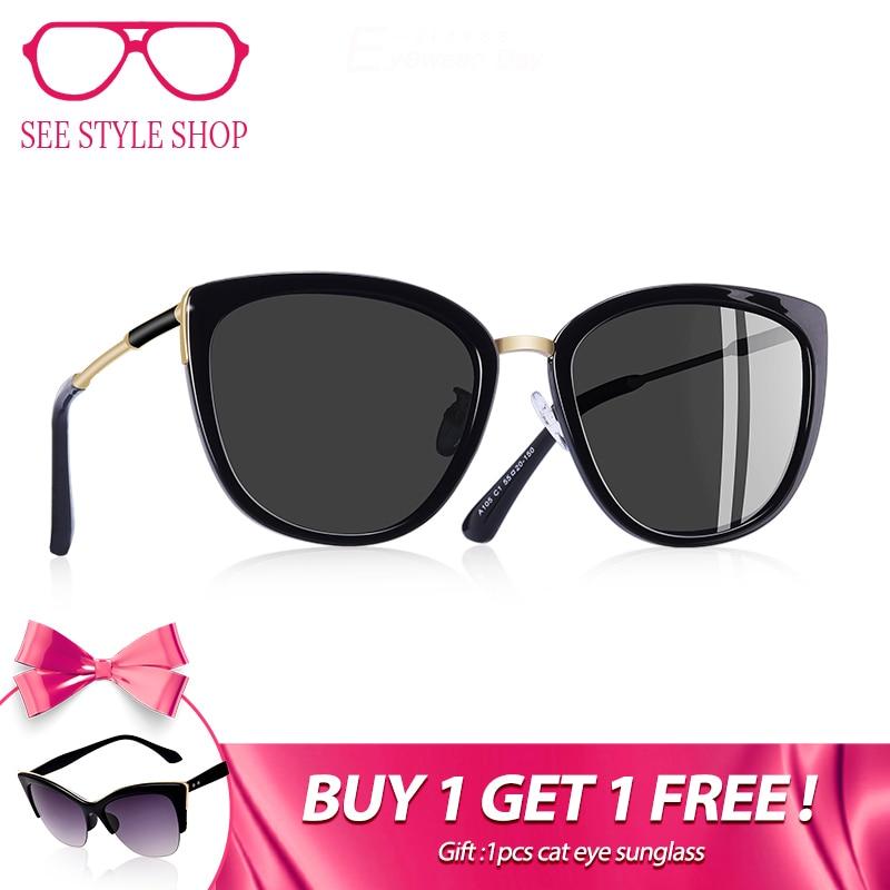 AOFLY BRAND DESIGN New Cat Eye Sunglasses Women Fashion Small Polarized Sunglasses Metal Legs Shades UV400 A105
